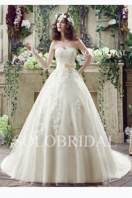 Light champagne a line sweetheart strapless lace up chapel train wedding dress C30235