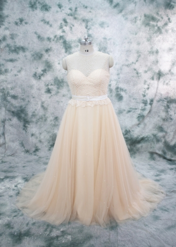 Ball Gown Tulle Skirt with Full Pearl Bodice Wedding Dress