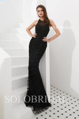 Black sheath beaded proom dress L723041