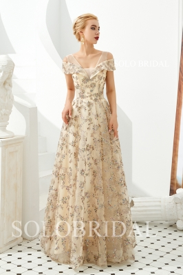 Champagne organza leaf lace proom dress M313321