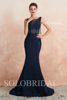 Royal blue fit and flare sexy proom dress N243571
