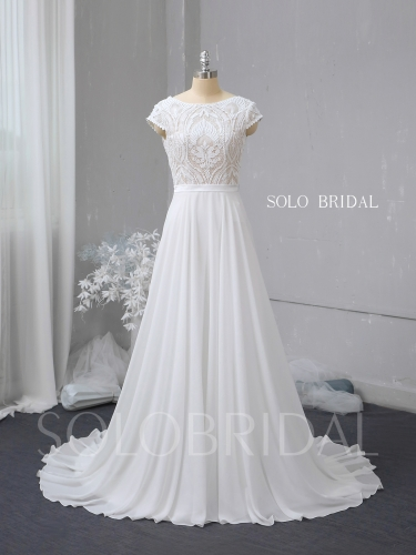 Ivory lace chiffon a line wedding dress 724A2704