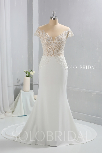 Ivory Crepe Fitted Wedding Dress Fully beaded Sexy Bodice 724A9778