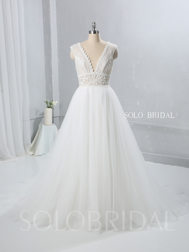 Ivory A Line Tulle Wedding Dress Seen Through Lace Bodice 724A9470a