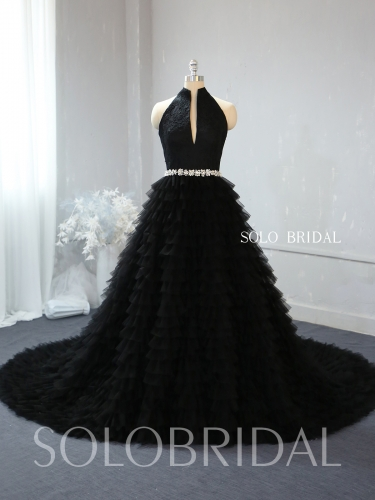 A line ruffle black wedding dress 724A2339