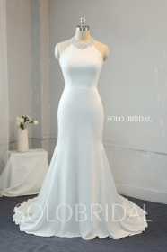Ivory Crepe fit and flare wedding dress beaded halter neck 724A9993...