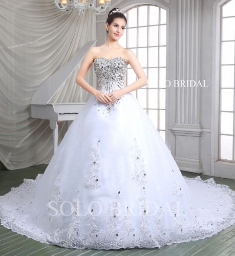 White heavy silver diamond ball gown sweetheart lace up cathedral train organza wedding dress A86115
