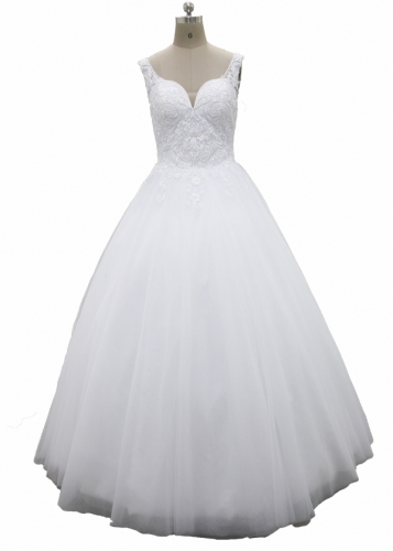 Floor Length Deep V Neckline Frence Lace Wedding Dress