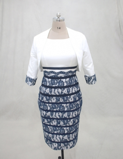Ivory with navy blue lace mother of bride dress