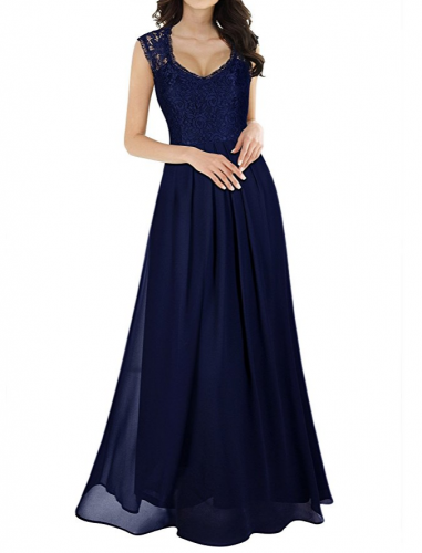 Royal Blue Chiffon Floor Length Lace Bodce Bridal Dresses Wholesale Price