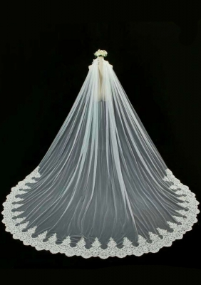 Catherdral Length Veil Ivory Color V-033