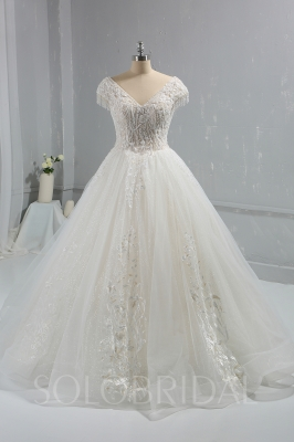 Ivory Sparkling Ball Gown Wedding Dress beading Cap Sleeves DPP_1034