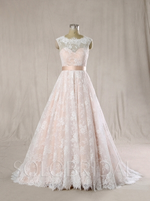 Blush satin with Ivory Lace A Line Wedding Dress 724A6732s