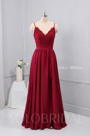 V Neck Thin Straps Wine Red Silk like Chiffon Bridesmaid Dress 724A2486