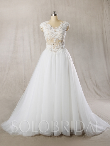 Sexy Seen Through Light Wedding Dress New Lace Dress 724A7219s