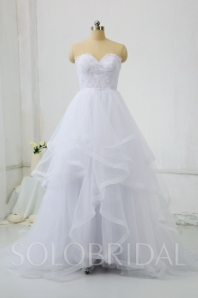 White Ball Gown Wedding Dress Tulle Skirt with Househair Edge DPP_0506