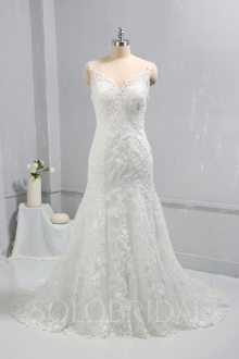 Ivory Mermaid Lace Fitted Wedding Dress Court Train 724A8317