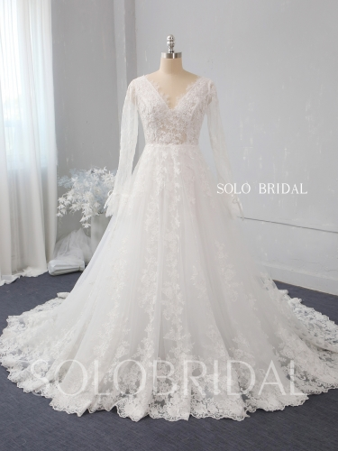 Ivory a line lace wedding dress 724A2536