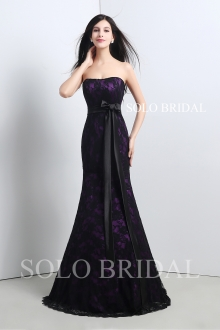 Purple lining with black lace fitted proom dress A20117