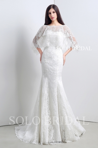 Ivory wrap fit and flare lace wedding dress A28108