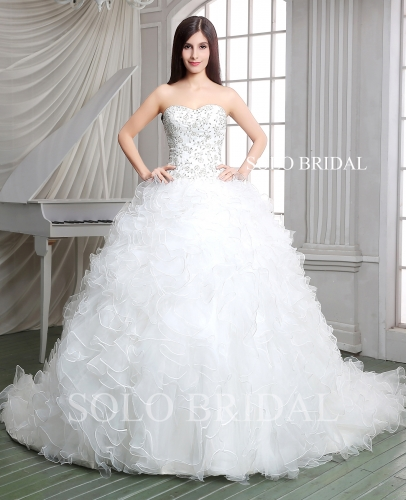 Ivory ball gown ruffle wedding dress chapel train embroidery bodice A55114