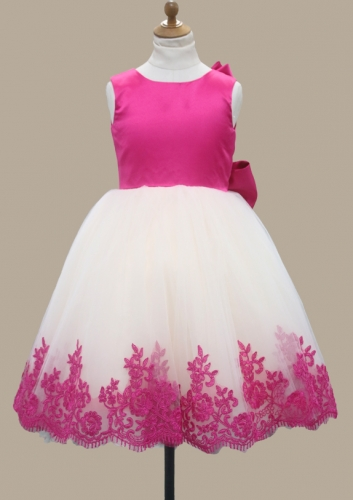 Satin Bow Flower Girl Dress Custom Made Size