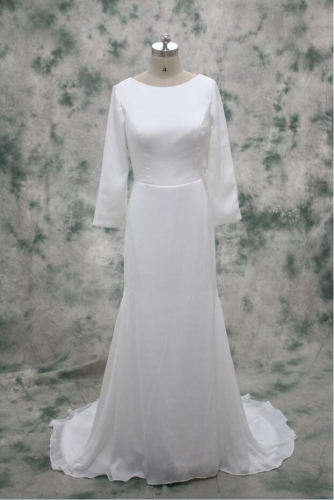 Simple Sheath Column Satin Light Summer Wedding Dress China Wedding Dress Factory