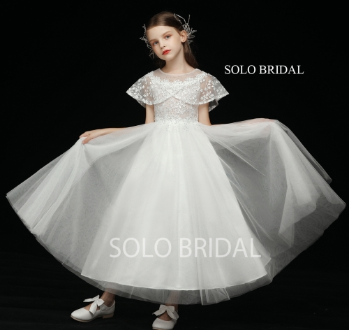 ivory wrap sleeve tulle skirt ankle length flower girl dress 5D7A3371