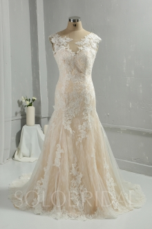 Sweetheart court train cotton lace off sleeves champagne wedding dress 724A6159a