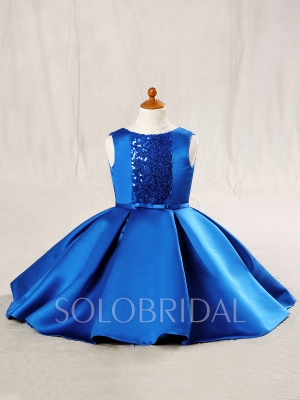 Royal Blue Satin Flower Girl Dress 724A6716s