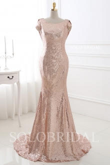 Blush pink sequin fit and flare bridesmaid dress E182861