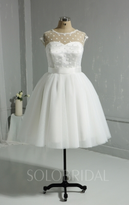 Polka Dots Tulle Ivory Ball Gown Short Wedding Dress DPP_2052