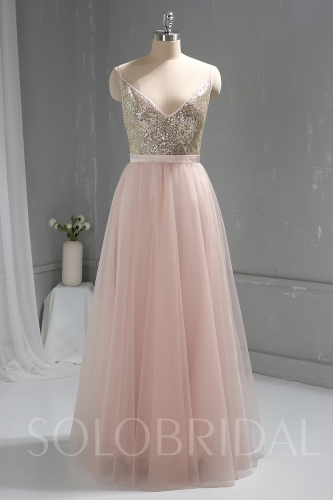 Pink Sequin Bodice Tulle Skirt Dress a00001753