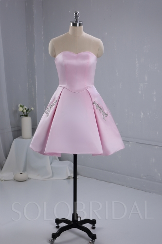 Pink Satin Knee Length Bridemaid Dress 724A3392a
