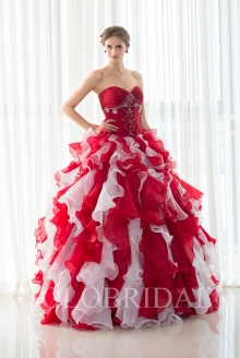 Sweetheart strapless lace up organza ruffle skirt ball gown proom dress D402851