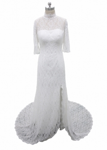 Whole piece lace split wedding dress ivory color bridal gown
