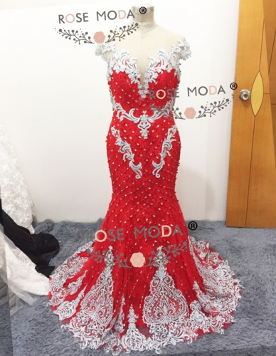 Red Mermaid Full Sparkles Beaded 2017 Hot Sale Proom Dress