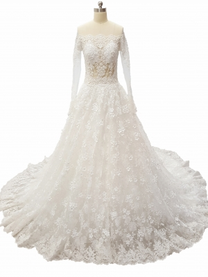 Ball Gown Luxury Beaded Lace Wedding Dress