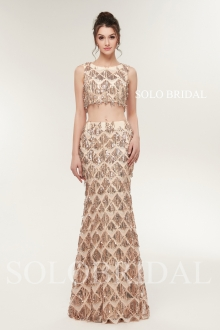 Gold shiny sequin two pieces proom dress H286421