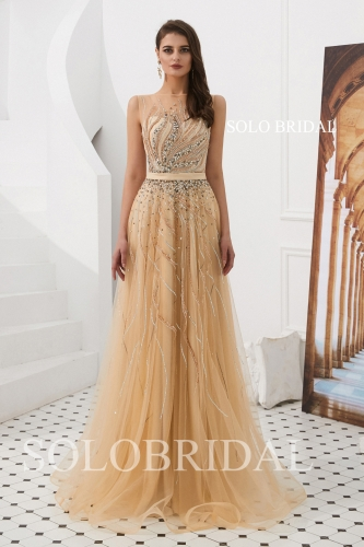 A line champagne tulle proom dress L823181