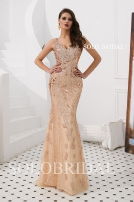 Rose Gold fit and flare beading proom dress L883171