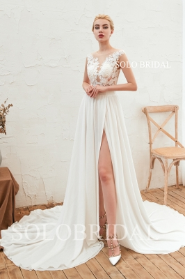 Ivory split chiffon V neck wedding dress M233471