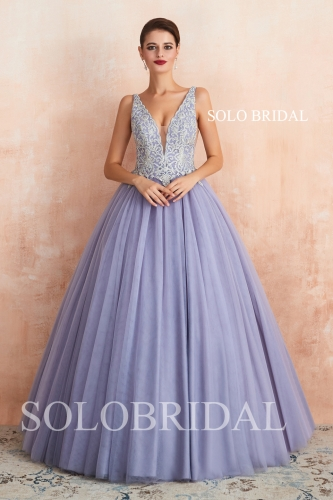 Purple a line wedding dress N443611