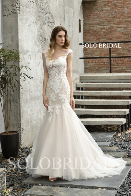 Ivory illusion fit and flare wedding dress P353961
