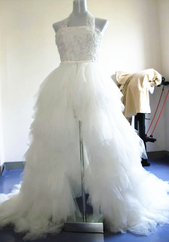 Lace Short Dress With Removable Train Ruffles Wedding Dresses
