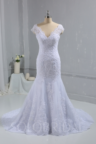 White Fitted Lace Wedding Dress Cap Sleeves Cathedral Train DPP_1010