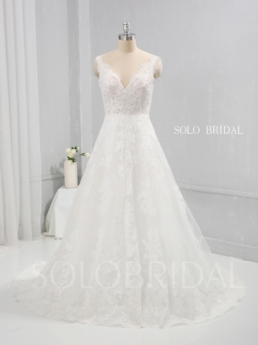 Ivory A Line Wedding Dress Seen Through Bodice Thin Lace Appliqued 724A1216a