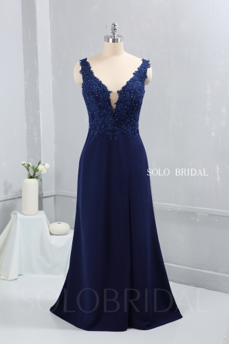 Royal blue crepe floor length V neckline bridemaid dress party dress proom dress DPP_2628