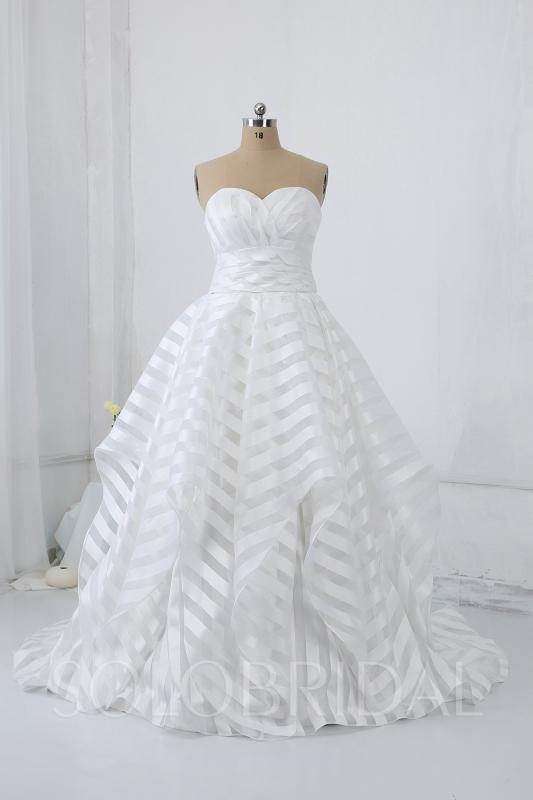 Ivory Stripe Ruffle Wedding Dress 724a1184a 724a1184a Ball Gown