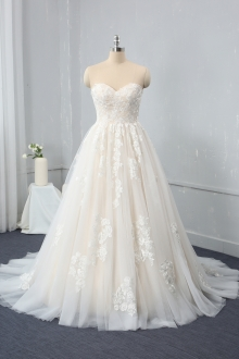 Champagne color A Line Sweetheart Sweep train Wedding Dress MJ-2337